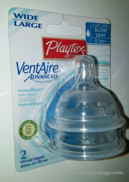 harga Playtex VENTAirE ADVANCED WIDE LARGE SLOW FLOW LENT 0-3M+ 2 SILICON