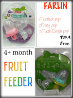 jual 3 in1 Fruit Feeder Teether Sikat Gigi Silicone