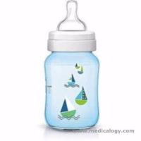 jual Botol Susu AVENT Classic Deco Blue Boat 260ml For 1m+ Feeding Bottle
