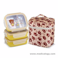 jual GiG Bayi Rectangle Stainless Steel Lunch Jar Termos Makan Bayi 3 Susun