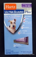 jual Hartz Ultra Guard Plus Flea & Tick Drops 3 tubes (31-60 lbs) 108724