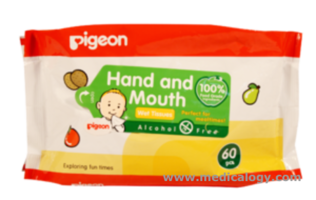 jual Pigeon Hand  Mouth Wet Tissue 60 Sheets Antiseptika Bayi