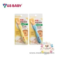 jual US Baby Silicon Spoon Heat Sensing Long Handle Sendok Bayi